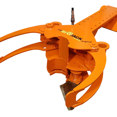 Biojack 160 energy wood grapple with boom to excavators